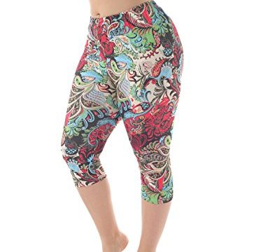 ZERDOCEAN Women's Plus Size Lightweight Printed Capri Leggings for Summer