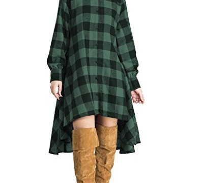 OLRAIN Womens New Plaids Irregular Hem Casual Shirt Dress Large Green