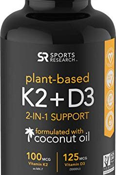 Vitamin K2 + D3 with Organic Coconut Oil for Better Absorption | 2-in-1 Support for Your Heart, Bones & Teeth | Vegan Certified, GMO & Gluten Free 60 Veggie Gels