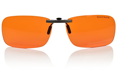 Clip-on Blue Blocking Amber Lenses for Sleep – Special Orange Tinted Lenses Help You Sleep and Relax Your Eyes Nighttime Lens – BioRhythm SafeTM – Nighttime Eye Wear