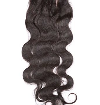 Fennell 3 Part Closure Body Wave Virgin Brazilian Hair 130% Density Lace Closure Natural Hair Color Soft and Silky8″-20″ 8 inches