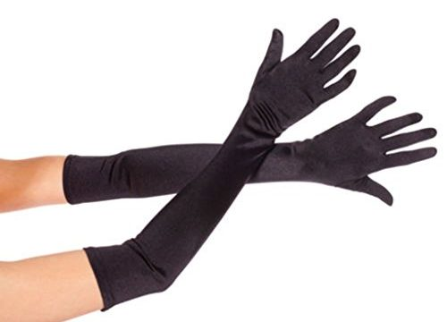 DreamHigh Women's Party Wedding 21″ Long Satin Finger Gloves Black