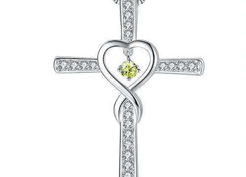 Milamiya August Peridot Birthstone Infinity Endless Love God Cross CZ Pendant Necklace, Birthday Jewelry Gifts for Women Girls Sister Wife Girlfriend Mom Mother Grandma Daughter Friendship
