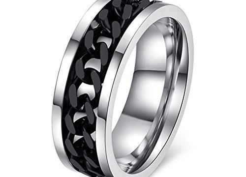 Topick Men's Black Stainless Steel Wide 8mm Spinner Chain-shaped Ring 11