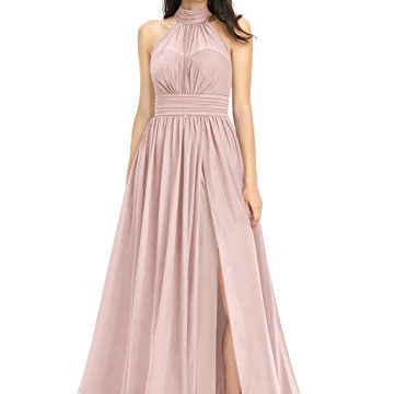 Doramei Women's Chiffon Off The Shoulder Halter Neck Prom Bridesmaid Special Occasion Dress