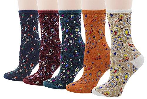Bellady Women Lady's 5 Pair Bohemian Vintage Style Cotton Crew Socks