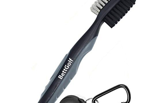 BettGolf Golf Club Brush and Groove Cleaner Brush Brushes in 7 for Golf Shoes/Golf Club/Golf/Golf Groove, 2 Ft Retractable Zip-line Aluminum Carabiner Gray