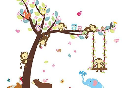 ElecMotive Cartoon Forest Animal Monkey Owls Hedgehog Tree Swing Nursery Stickers Murals DIY Posters Vinyl Removable Art Wall Decals for Kids Girls Room Decoration Bear Elephant