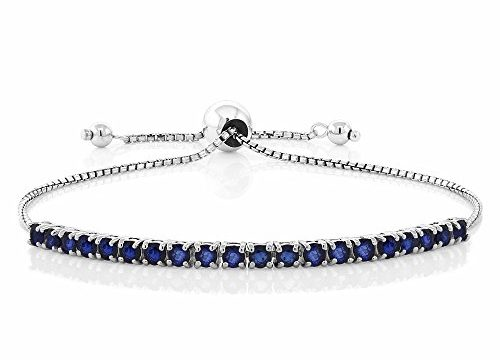 Sterling Silver Blue Sapphire Tennis Bracelet Gemstone Birthstone 2.50 cttw Fully Adjustable Up to 9 Inch