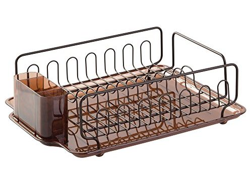 InterDesign Forma Kitchen Dish Drying Rack with Tray – Drainer for Drying Glasses, Silverware and Dishes, Amber/Bronze