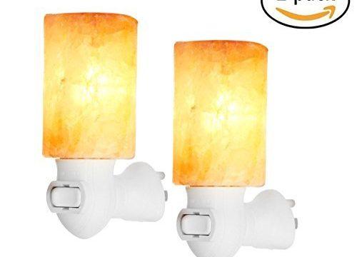 Himalayan Salt Lamp Hisoo Natural Crystal Salt Rock Lamp Wall Night Light for Air Purifying Bedroom Office Decoration Lighting 2pack
