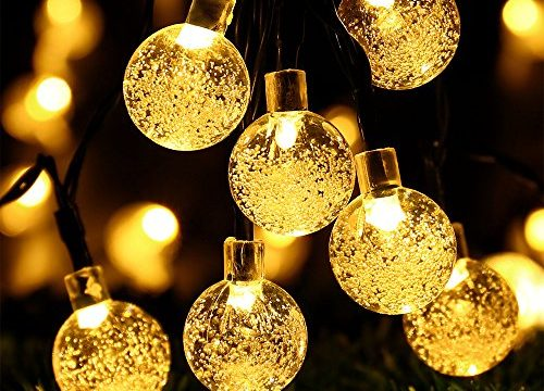 RECESKY 30 LED 17.5ft Crystal Ball Decor Lighting for Outdoor Indoor Garden Party House Garland Ornament Christmas Tree Decorations – Globe Battery Operated String Lights with Timer – Warm White