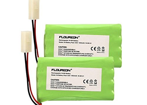 FLOUREON 9.6V 1800mAh 2 Packs 4 Cell Ni-MH Rechargeable Replacement RC Battery Pack with Tamiya Connector for RC Cars Boat Robot Security2 PCs