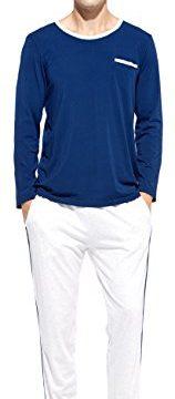 HACAI Men's Pajamas Set Soft Modal Cotton Long Sleeve Sleepwear-Blue XL