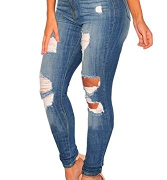 Sidefeel Women Hight Waist Ripped Denim Ankle Length Skinny Jeans