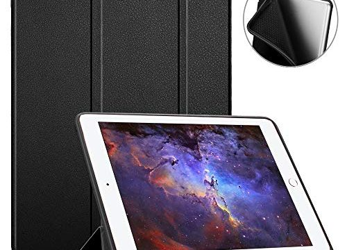 Fintie iPad 9.7 2018 Case with Built-in Apple Pencil Holder – SlimShell Lightweight Soft TPU Back Protective Stand Cover with Auto Wake/Sleep for Apple iPad 2018 9.7 Inch 6th Gen, Black