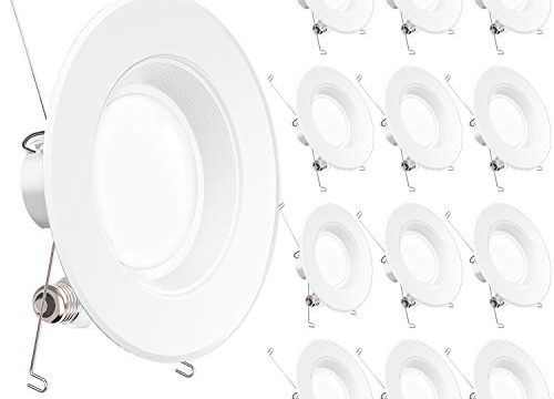 UL + Energy Star – Sunco Lighting 12 Pack 5/6 Inch LED Recessed Downlight, Baffle Trim, Dimmable, 13W=75W, 5000K Daylight, 965 LM, Damp Rated, Simple Retrofit Installation