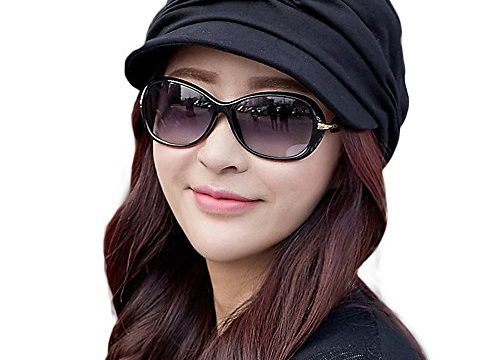 SIGGI Cotton Cloche Newsboy Cabbie Beret Chemo Caps for Women Winter Hat for Cancer Patients Black