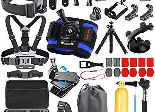 HAPY Sports Action Professional Video Camera Accessory Kit for GoPro Hero6,5 Black, Hero Session,Hero 2018,HERO7, 6,5,4,3,3+, GoPro Fusion,SJCAM,AKASO,Xiaomi,DBPOWER,Camera Kit