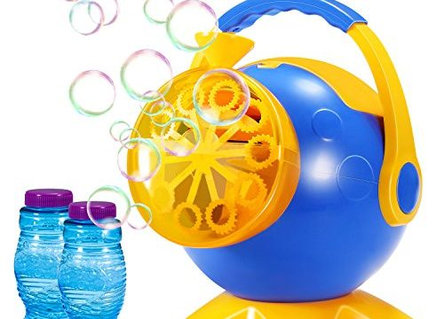 Geekper Bubble Machine, Automatic Bubble Blower Durable Bubble Maker with 2 Bottles of Bubbles Solution Refill, Blue