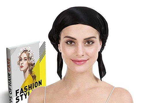 Savena 100% Mulberry Silk Night Sleeping Cap for Long Hair Bonnet Hat Smooth Soft Many Colors, Hair Care Ebook Included Black