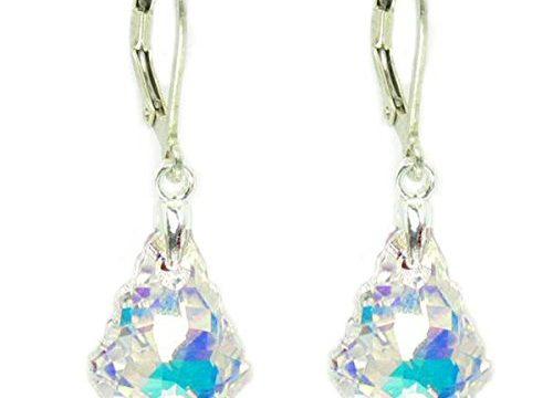 Clear Aurora Borealis Swarovski Elements Crystal Sterling Silver Leverback Dangle Earrings