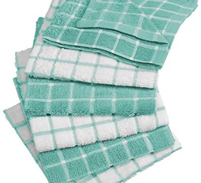 DII Cotton Terry Windowpane Dish Cloths, 12 x 12″ Set of 6, Machine Washable and Ultra Absorbent Kitchen Dishcloth-Aqua