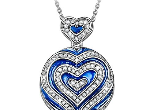 NINASUN Necklace Gifts for Women Christmas Present I LOVE YOU TO THE MOON AND BACK Pendant Necklace s925 Sterling Silver Blue Heart Jewelry for Women Anniversary Birthday Gift for Wife Her Mom Grandma