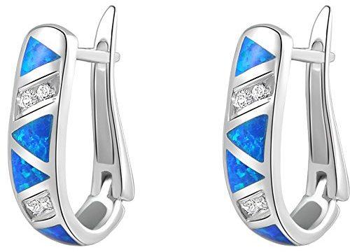 Newshe Jewellery Huggie Created Australian Blue Opal Sapphire Hoop Earrings 925 Sterling Silver White Cz