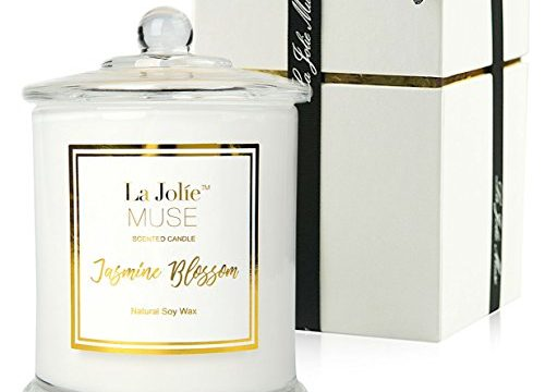 LA JOLIE MUSE Jasmine Scented Candle Gift Natural Soy Wax, Fine Home Fragrance, Glass Jar Candle Gift for Her