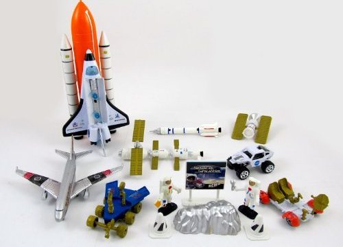 Liberty Imports Space Shuttle and Astronaut Toy Playset | 15 Pieces – Rockets, Satellites, Rovers, Airplane, Figures & Vehicles