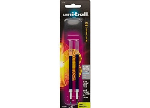 uni-ball 207 Gel Pen Refills, Medium Point 0.7mm, Blue, 2 Count