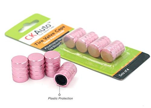 Tire Valve Stem Cap, Pink, 4 pcs/Pack, Anodized Aluminum Valve Stem Cap Set, Corrosion Resistant, Ideal for Cars Trucks Motorcycles and Bikes