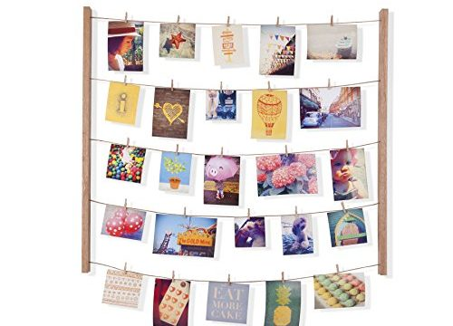 Umbra Hangit Photo Display – DIY Picture Frames Collage Set Includes Picture Hanging Wire Twine Cords, Natural Wood Wall Mounts and Clothespin Clips for Hanging Photos, Prints and Artwork Natural