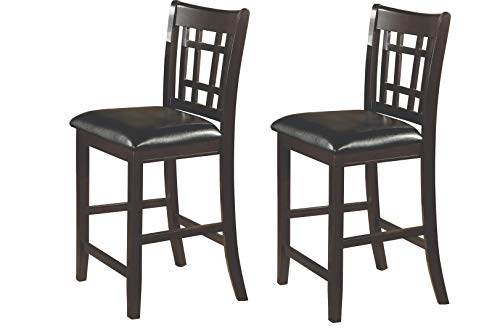 Lavon 24″ Counter Stools Black and Espresso Set of 2