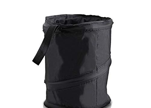 Zone Tech Universal Traveling Portable Car Trash Can – Black Collapsible Pop-up Leak Proof Trash Can