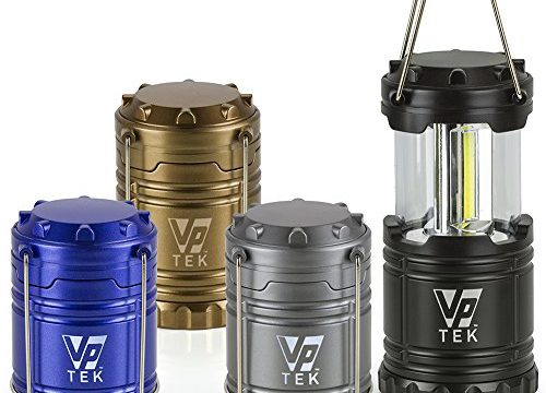 VP TEK Collapsible LED Lantern with Ultra Bright 300 Lumens COB Technology 4 Pack Black, Metallic Copper, Cobalt Blue & Metallic Silver