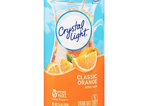 Crystal Light Drink Mix, Classic Orange With Vitamin C & Calcium, Pitcher Packets, 5 Count Pack of 4 Canisters