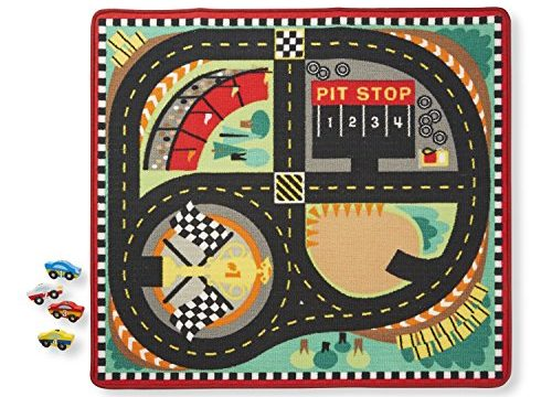 Melissa & Doug Round the Speedway Race Track Rug With 4 Race Cars 39 x 36 inches