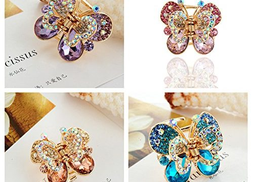 Casualfashion 4Pcs Rare Crystal Rhinestone Butterfly Bangs Clip Bow Hair Claw Gripper for Girl Women 1.26×1.10 inch