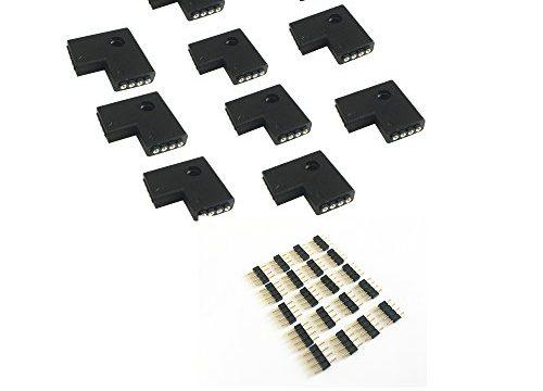 10pcs 10mm 4-pins L-shape 90 Degree Right Angle Female Connector for LED RGB 5050 Flex Strip Light L Shape