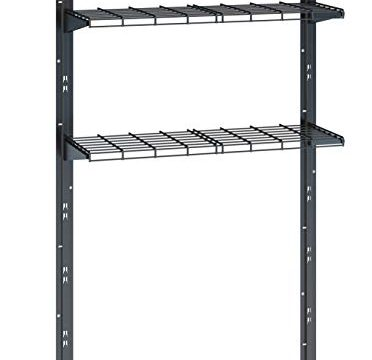 Two Shelves and Brackets Holds 70 lbs. of Garden Supplies, Tools, Toys, Outdoor Accessories – Black – Storage Shelving Shed, Garage, Indoors and Outdoors – Suncast Sierra Shelf Kit