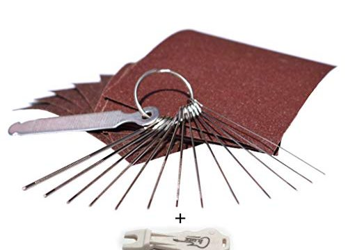 Leomanor – 13 Different Size Stainless Steel Needle Files with Circular Cross Section and 9 Pcs Sand Paper For Acoustic Guitar, Ukulele, Bass, Electric Guitar – Guitar Bridge Saddle Nut Files Set