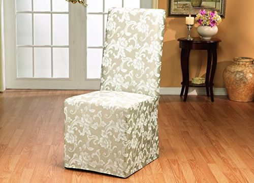 SureFit Scroll  – Dining Room Chair Slipcover  – Champagne SF35461