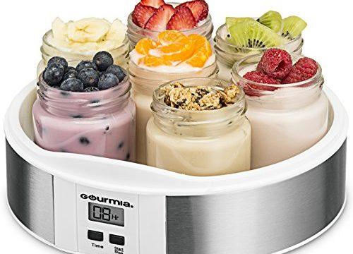 Custom Flavor & Thickness – Timer Control & Display – BPA-Free – 7 Glass 6 oz Jars – Bonus Recipe Book – Gourmia GYM1620 Digital Yogurt Maker