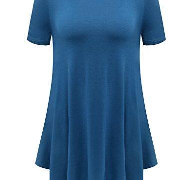 BELAROI Womens Basic Solid Loose Fit Short Sleeve Tunic T Shirt S, Steel Blue