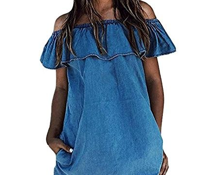 Obazidou Women's Blue Jean Legging Off Shoulder Ruffle Short Sleeve Loose Mini Dress