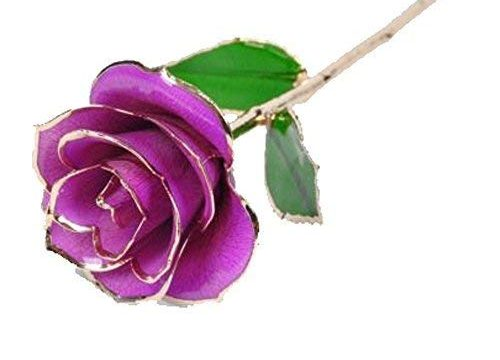 Love Forever Long Stem Dipped 24k Gold Foil Trim Purple Rose Enchantress Flora with Thorns Real Rose Dipped in Gold