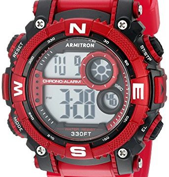Armitron Sport Men's 40/8284RDBK Digital Chronograph Matte Red Resin Strap Watch