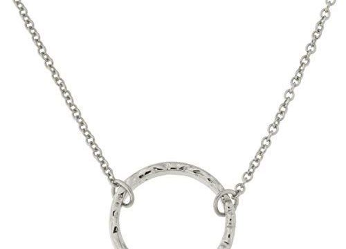 Rhodium Plated Sterling Silver Hammered Open Circle Pendant Necklace, 16″-18″